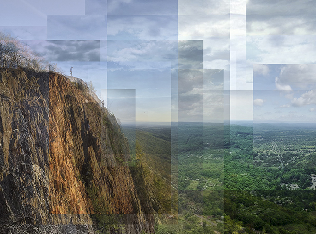 William Van Beckum compilation of photos of a cliff at Mount Tom State Reservation