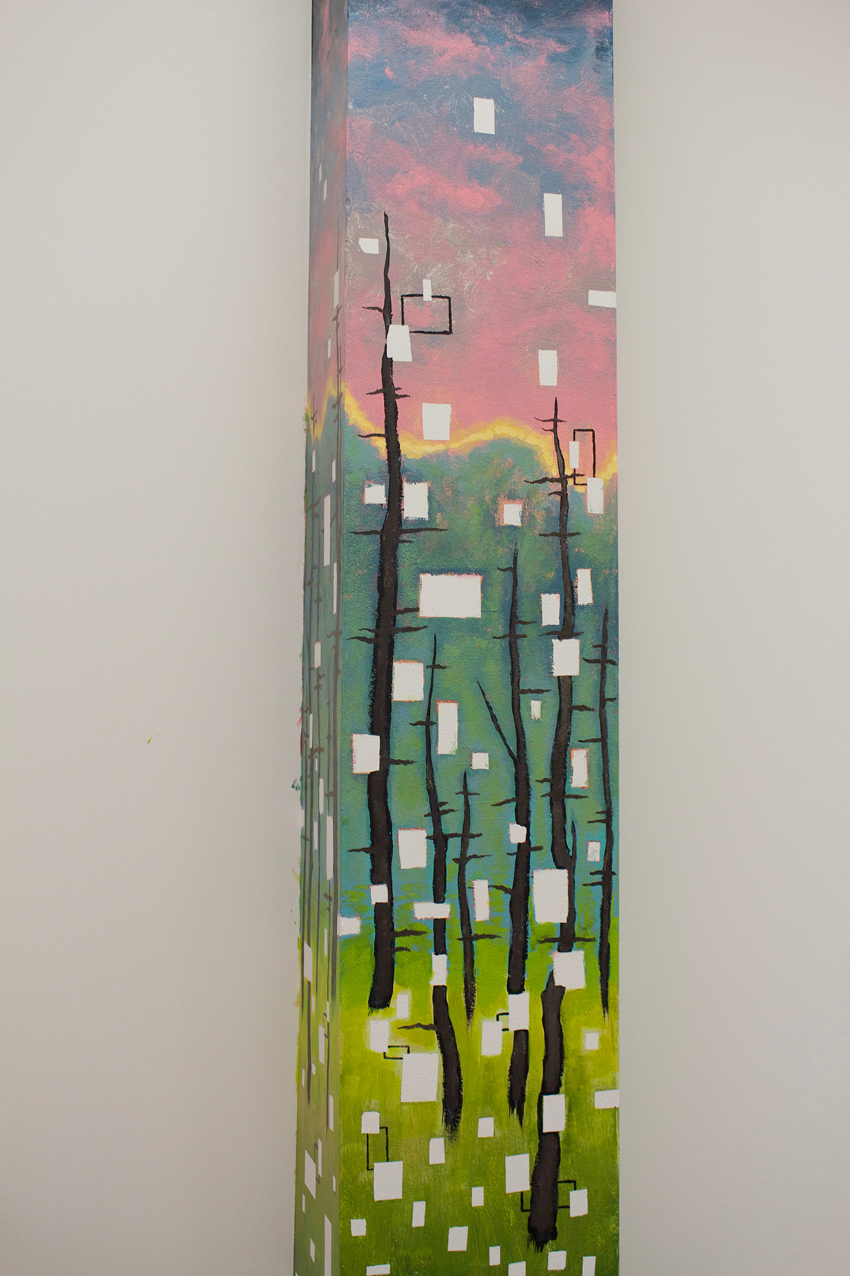 Nicholas Papa's cityscapes at night painted column at CommCreative