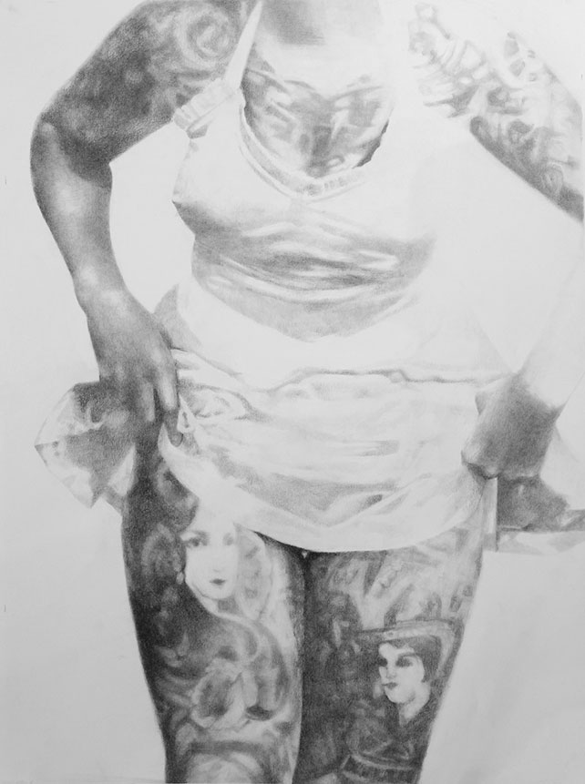 Shailin Messer drawing of a woman with tattoos all over her body